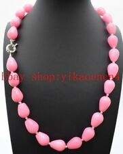 Rare Beautiful 10x14mm Drop Shape Pink Rhodochrosite Gemstone Necklace 18""