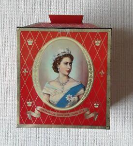 Bilsland 1953 Queen's Coronation Biscuit Tin / Tea Caddy Good Condition
