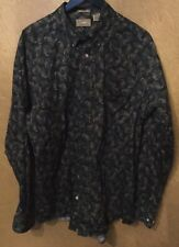 NATURAL ISSUE Men's Paisley Shirt Button Down Long Sleeve Green  Cotton Large
