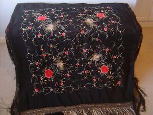 Antique Hand Embroidered Silk Manton de Manila Piano Shawl