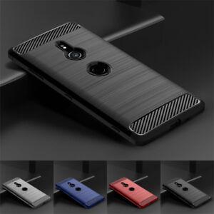 For Sony Xperia XZ3 XZ2 XZ1 XA2 XA1 Slim Fiber Carbon Silicone TPU Cover Case