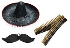Black Mexican Hat & Bendable Tash & Bullet Belt Fancy Dress Accessory Sombrero