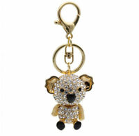Golden Plated Rhinestone Koala Pendant Buckle Keyring Keychain Key Chain Ring ♫