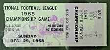 1968 NFL Championship Football Game Ticket Stub Dec 29