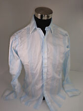 Turnbull & Asser Blue White Stripes Luxury French Cuff Mens Dress Shirt 15/38cm