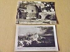 Nottingham Castle gateway RPPC 2 postcards repro castle in 17th century art