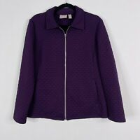 Chicos 2 Large L Quilted Full Zip Jacket Purple Jacquard Pockets Flap Collar