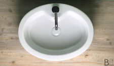 Lavabo appoggio ovale GSI Made in Italy Alta qualità Bianco con foro rubinetto