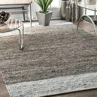 nuLOOM Solid & Striped Handmade Otha Tassel Area Rug in Gray