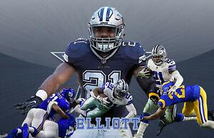 Dallas Cowboys Lithograph print of  Ezekiel Elliott. 3 17 x 11