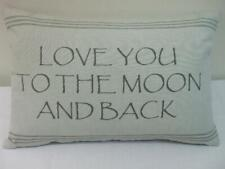 "Park B. Smith Accent Pillow Cotton Gray 18"" x 12"" Love You To The Moon And Back"
