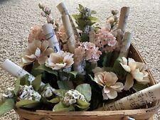 Assorted Lot Silk Flower Stems Rolled Sheet Music Wedding Bridal Shower Decor