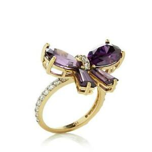 HSN Pear & Tapered Amethyst 14K Yellow Gold Over Bow Ring Size 6