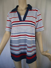 BNWT Ladies Sz M/18 Myer BIB Label Stretch Short Sleeve Stripe Polo Top RRP $60