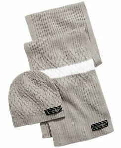 Calvin Klein Men's Scarf Gray One Size Ribbed Textured Colorblock $56- #129