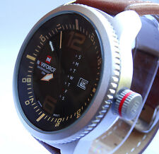 MILITARY 48mm Army Navy Pilot's Aviators Sport Boat Date Quartz Steel Watch TW U