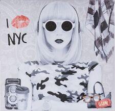 "Bild mit Glitter ""I love New York II"" Wandbild Leinen auf Holzrahmen 50 x 50 cm"