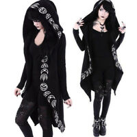 Women Long Sleeve Punk Style Moon Print Black Hooded Cardigan Jacket Coat Plus