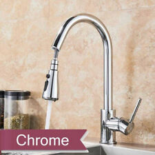 Chrome Pull Down Sprayer Kitchen Faucets Single Handle Hole Vessel Mixer Tap