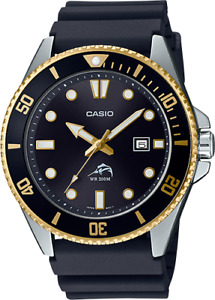 Casio MDV106G-1A, Men's Analog Watch, Black Resin Band, Date, 200 Meter WR