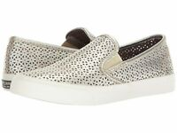Sperry Women's Seaside Nautical Perforated Slip-On Sneakers In Platinum Leather