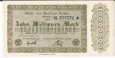 GERMANY NOTGELD Aachen Stadt&Landkreis 10 MIL MARK 20.07.1923 au UNC BROWN
