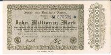 Alemania Notgeld Aachen Stadt & Landkreis 10 mil Mark 20.07.1923 Au Unc Marrón
