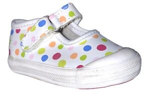 Baby Girls Keds Shoes Girls Sz 2 M Polka Dots Mary Janes Leather EUC PD