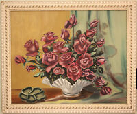 ANTIQUE ROSE STILL LIFE WITH PAINTED & GESSOED WOOD FRAME - SIGNED - NOT SO SHAB