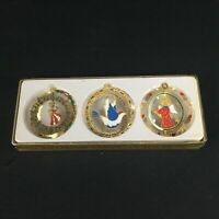Set of 3 VTG Solid Brass Classic Collection Christmas Ornaments Dimensional Dove