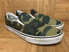 RARE🔥 VANS Slip On Woodland Camo Camouflage Army Green Sz 12 Men's Shoes Skate