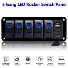 5 Gang Toggle Rocker Switch Panel W/ USB For Car Boat Marine RV Truck Blue LED