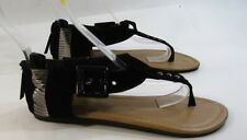 Summer NEW black/steel  WOMEN SHOES ROMAN GLADIATOR FLAT SANDALS   SIZE  8