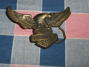 "Harley-Davidson Motor Cycles Belt Buckle Eagle Outstretched Wings 3 11/16"" Wide"