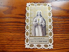 ANTIQUE LACE WITH GOLD PRINT HOLY CARD JESUS PRESENT THE BREAD OF LIFE