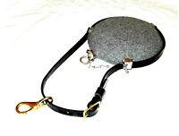 Leather Saddle Canteen Strap - Civil War  Western  Cavalry Bullseye - BLACK