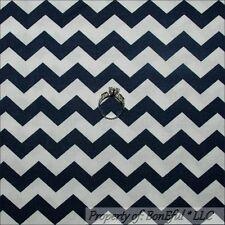 BonEful Fabric FQ Cotton Quilt Navy Blue White Chevron Stripe DUKE NC University