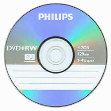 5 Philips 4X Logo DVD+RW DVDRW ReWritable Blank Disc 4,7GB