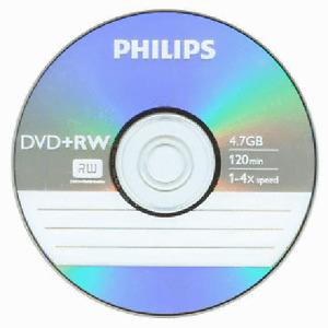 5 Philips 4X Logo DVD+RW DVDRW ReWritable Blank Disc 4,7GB