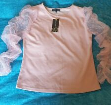 Womens New Look Tops size 14 BNWT Pink Net Sleeve