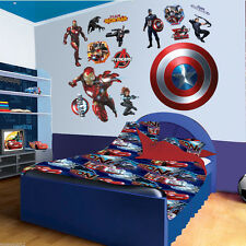 Super Hero Captain America Iron Man Wall Sticker Mural PVC Decal Kids Room Decor