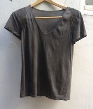Kookai designer gray V-neck Burning Man t-shirt, leather accents (size small/1)