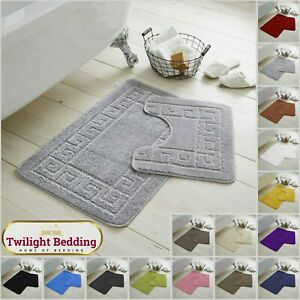GREEK BATHROOM BATH MAT SET 2 Piece Non Slip Rubber Pedestal Mat Toilet Rugs