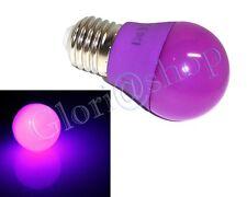 LAMPADINA LED LUCE VIOLA 4W LAMPADA SFERA LUCI COLORI LAMPADINE DECORAZIONI E27