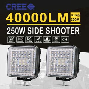 Pair 300W 4inch Work Lights Spot Flood Combo LED Light Bar Reverse Truck 4WD 24V