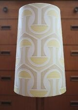 Original 60s/70s Paper Lampshade, Extra Tall Conical, White, Yellow, Geometric