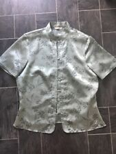 MARKS AND SPENCER SIZE 12 GREEN (DUCK EGG) SILKY LOOK MANDARIN COLLAR BLOUSE/TOP
