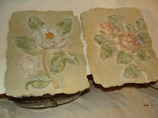 TWO HEAVY FLORAL WALL HANGING ART STONE-LIKE MATERIAL ROSE