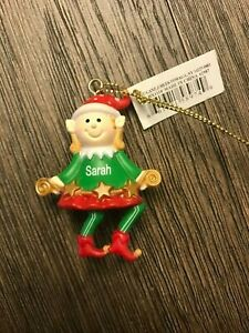 Ganz Elf Holiday Ornament - Personalized SARAH Stocking Stuffer - Gift Topper