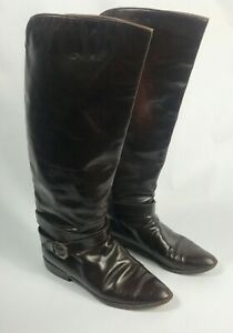 Womens Charles David Brown Leather Equestrian Distressed Riding Boots U.S.sz 8AA